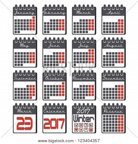 Calendar icons set with grid for 2017 year by months in flat style and black colors with marked in red weekdays. Calendar icons flat design. Vector illustration