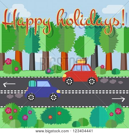 Cars with suitcases driving on highway through summer forest. Vacations start. Colourful travel vector flat pucture. Flat design holiday vector illustration