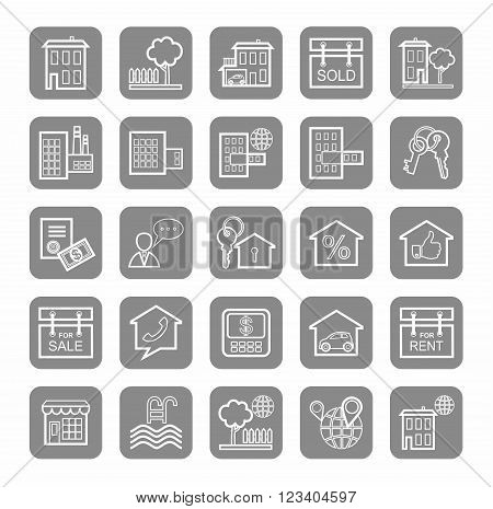 Vector flat line icons with real estate on a gray background. Monotone.