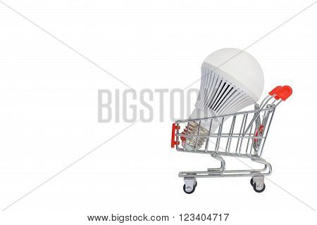 LED light bulbs on a cart, Isolated on white background.