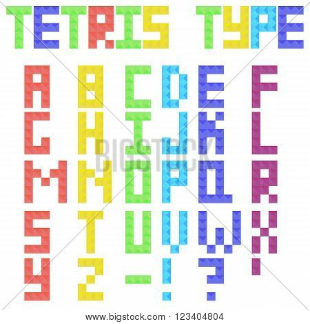 Tetris Latin type from colored pieces. Colorful tetrimino letters and symbols in flat style. Vector illustration