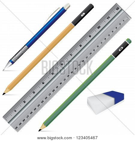 Vector Carbon pencil. Pencil eraser ruler and pen isolated on white background. Object tool for office stationery and school.