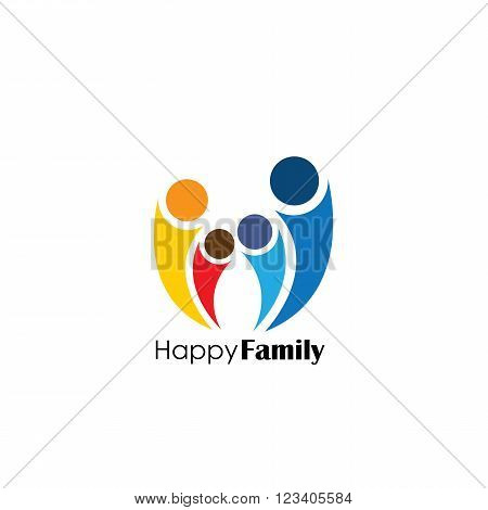 Vector Logo Icon Of Family Of Four People