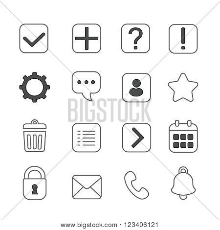 Notification and information linear icons set. Question mark, exclamation and message, help and  settings