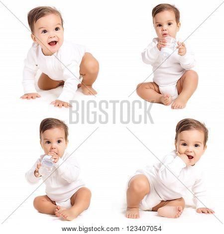 Collage - a Portrait of a small inquisitive boy,brunette with brown eyes and short hair,dressed in a white shirt and a white diaper,barefoot posing in Studio,sitting on a white background, smiling mouth open,holding a bottle of water