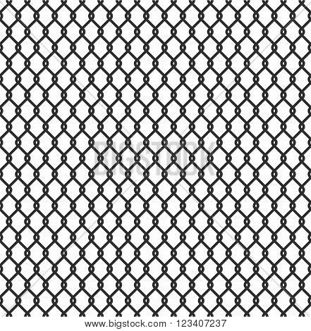 Metallic wired Fence seamless pattern isolated on white background. Steel Wire Mesh Vector Illustration