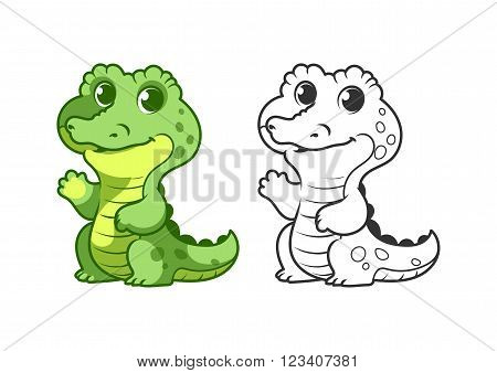 Cute little alligator. Cartoon vector character isolated on a white background with black outline.