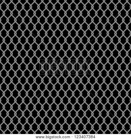 Metallic wired Fence seamless pattern isolated on black background. Steel Wire Mesh Vector Illustration