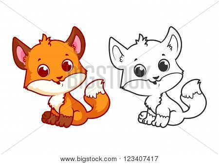 Cute little fox. Cartoon vector character isolated on a white background with black outline.