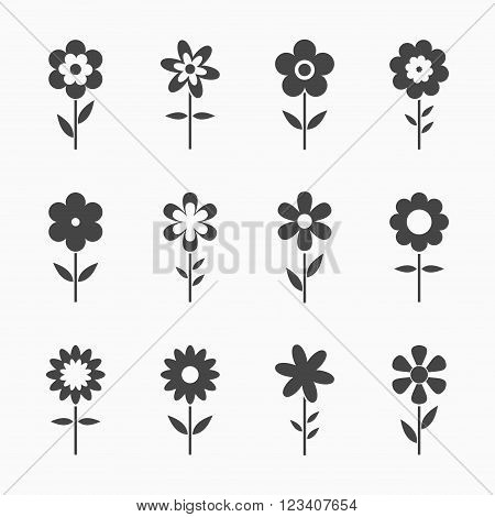 Black Flowers icons isolated on white background. Set of colorful floral icon. Flowers icons in flat dasing style Vector Illustration