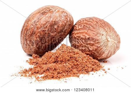 Two nutmeg whole and powder isolated on white background.