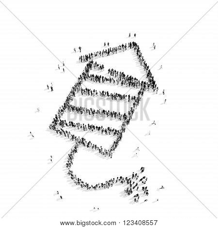 A group of people in the shape of a children's fireworks, flash mob.3D illustration.black and white