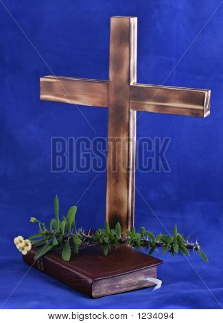 Cross And Bible On Blue