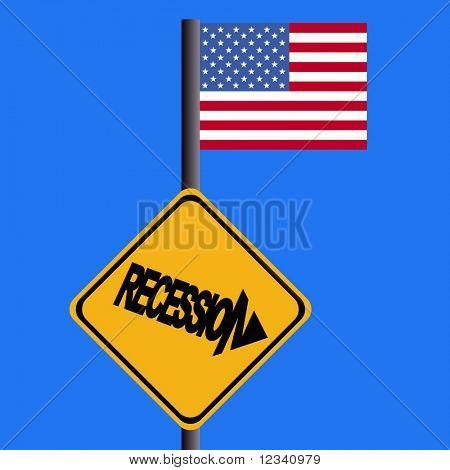 Señal de advertencia de la recesión y la ilustración de la bandera americana
