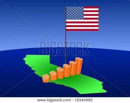 dollar graph on California map with flag illustration JPEG