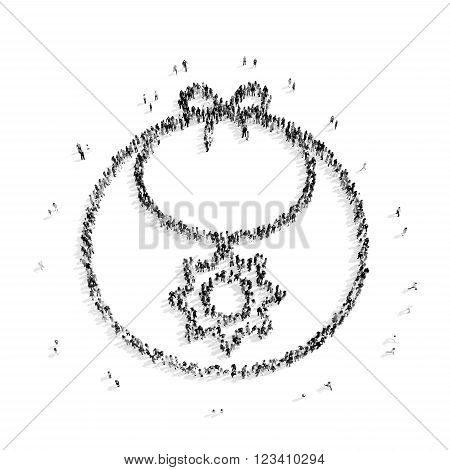 A group of people in the shape of bib, baby, flash mob.3D illustration.black and white