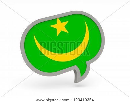 Chat Icon With Flag Of Mauritania