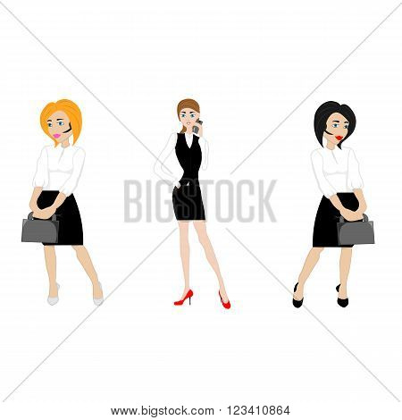 three young women in business attire from your phone laptop and folders