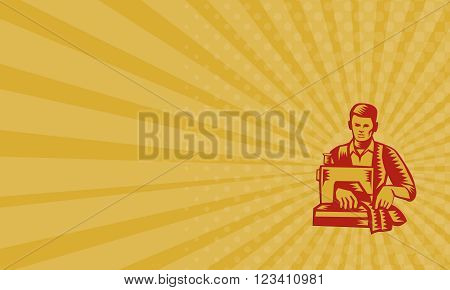 Business card showing illustration of a tailor machinist with sewing machine sewing facing front set on isolated white background done in retro woodcut style.