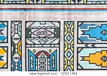 Traditional way in which the Ndebele tribe of South Africa paint their houses on the wall.