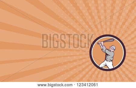 Business card showing illustration of an american baseball player holding bat batting homer home run set inside circle on isolated background done in cartoon style.