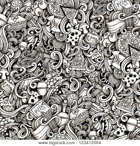 Cartoon hand-drawn doodles on the subject of Italian cuisine theme seamless pattern. Line art trace detailed, with lots of objects vector background