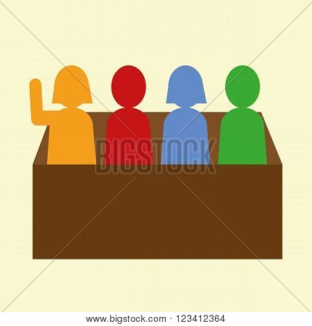 Group of male and female figures in a box or panel with one figure raising a hand to answer a question in school or on a quiz team