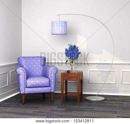 chair in the corner with a coffee table and a lamp. The concept of comfort and relaxation 3d illustration.
