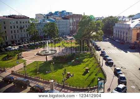 Saint Petersburg , Russia - 10 July 2012:  Novo - Manezhnaya square, the view from the roof of the city of in the summer in warm weather