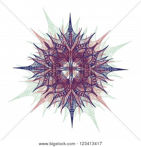 Colorful Vector Flower On White