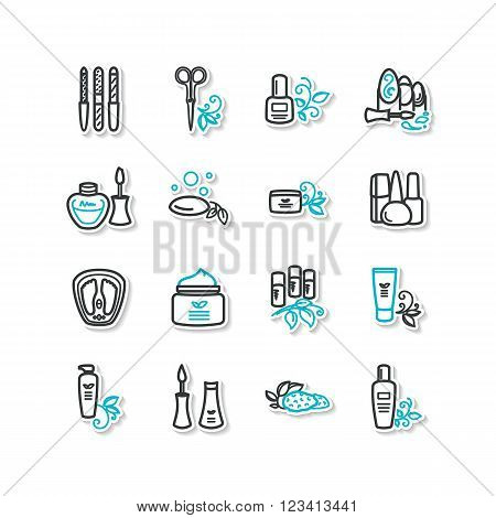 Set of icons - beauty manicure pedicure. A vector.
