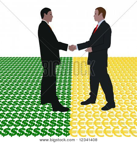 business men meeting with dollar and euro symbol illustration
