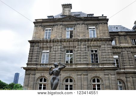 PARIS, FRANCE- JUNE 6, 2011: Luxembourg Palace in Paris, first great example of French classical architecture during 17th century. France.