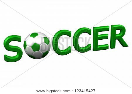 Concept: Soccer isolated on white background. 3D render.