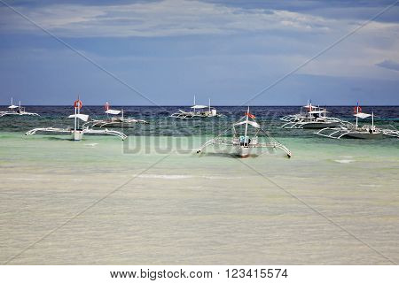 Traditional Philippine boats bangka in the sea,Philippines