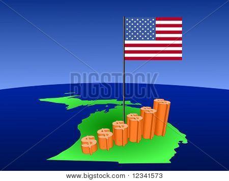dollar graph on Michigan map with flag illustration JPEG
