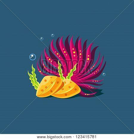 Purple Algae And Rocks Cute Cartoon Style Vector Illustration On Dark Blue Background