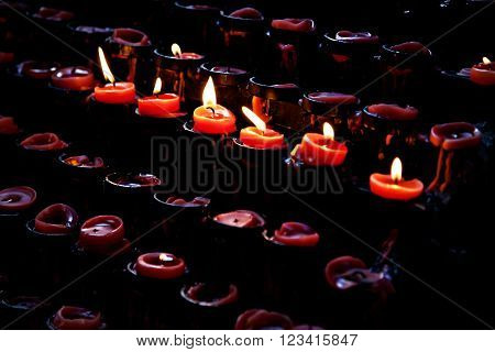 Votive red candles in Basilica, Cebu ,Philippines
