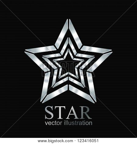 Star logo, Silver star logo, Star icon, Vector illustration EPS10