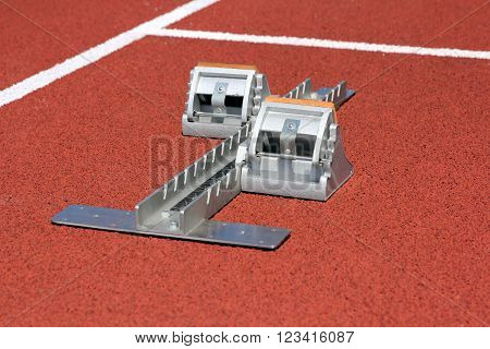 The Athletics starting blocks on race track