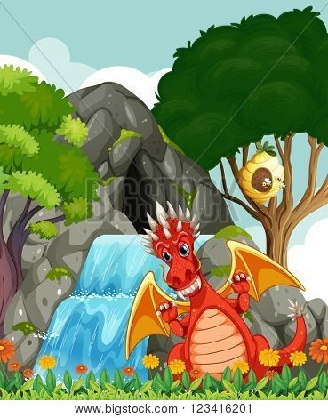 Dragon by the waterfall and cave illustration