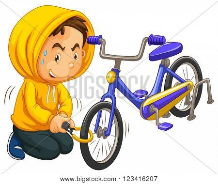 Boy in yellow hood stealing bicycle illustration