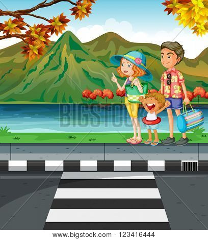 Family going swimming in the lake illustration