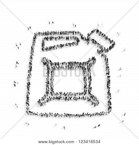 A group of people in the shape of an oil canister, car , flash mob.3D illustration.black and white