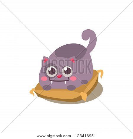 Cat Laying On Pillow Adorable Emoji Flat Vector Caroon Style Isolated Icon