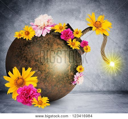 Money style bomb with ignited fuse and flowers on grey wall background. 3D rendering