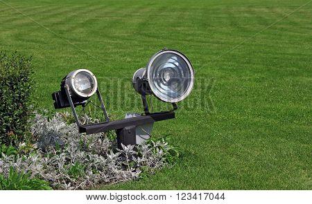 garden lighting and green grass in daylight
