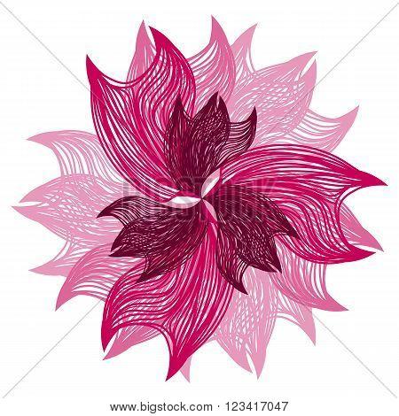 Bright Pink Vector Flower