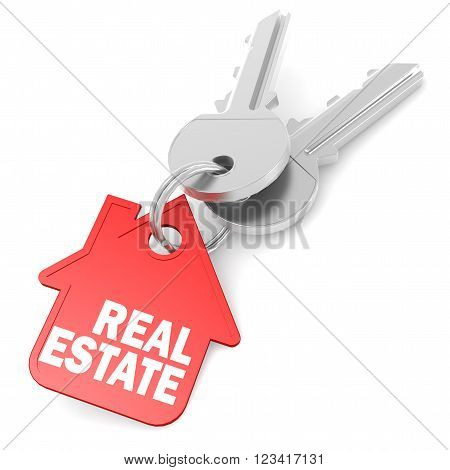 Keychain with real estate word image, 3D Illustration