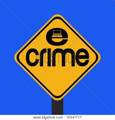 warning e-crime with laptop sign illustration